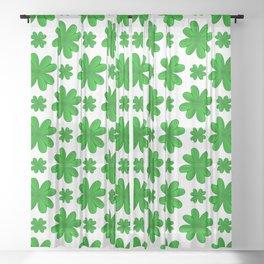 Four Leaf Clover Shamrock Green Vegetation Pattern Sheer Curtain