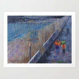 Hermosa Beach Rain Art Print