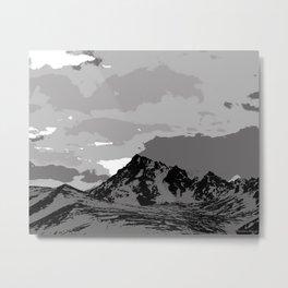 Chugach Mountains - B & W Pop Art Metal Print