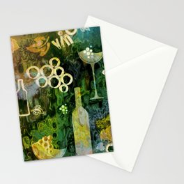 Abstract Wine Background - Sepia Green Stationery Cards