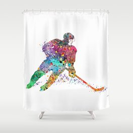 Girl Ice Hockey Sports Art Print Shower Curtain