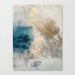 Embrace: a minimal, abstract mixed-media piece in blues and gold with a hint of pink Canvas Print