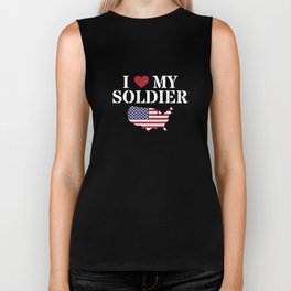 I Love My Soldier Veterans Day War Hero Apparel Gift Biker Tank
