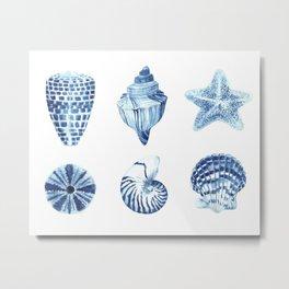 Watercolor seashell print Metal Print