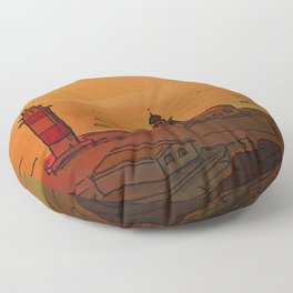 Good Morning / New and Old Lighthouse Fuencaliente La Palma Floor Pillow