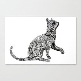Zentangle Cat Canvas Print