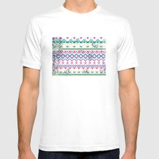 Fluorescent Aztec White Mens Fitted Tee MEDIUM