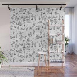 Seamless hand draw cartoon fairy fishes Wall Mural