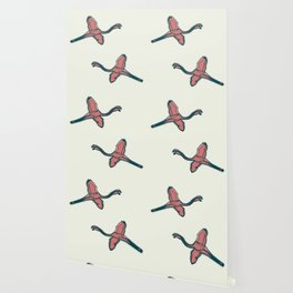 Pink Flamingo watercolor pattern beige Wallpaper