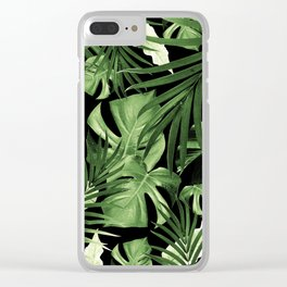 Tropical Jungle Night Leaves Pattern #5 #tropical #decor #art #society6 Clear iPhone Case