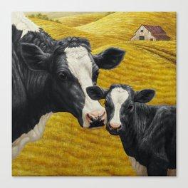 Holstein Cow and Cute Calf Canvas Print