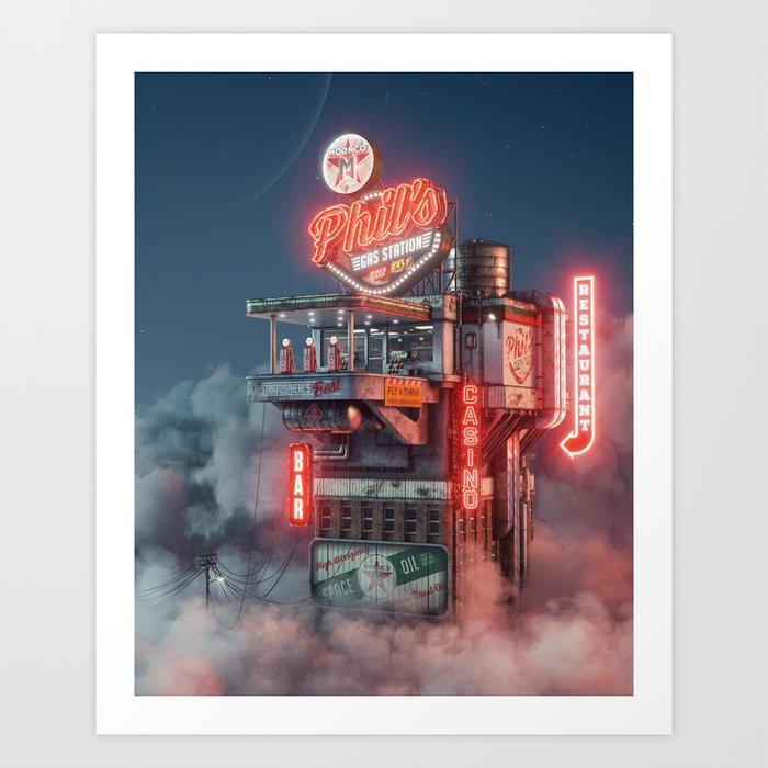 Phil's Gas Station Art Print