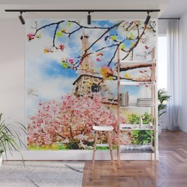 Early Spring by The Eiffel Tower Watercolor  Wall Mural