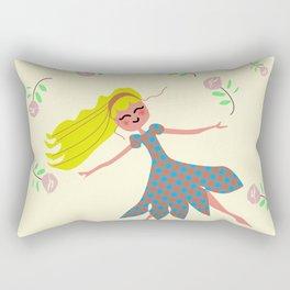 little girl dancing in the garden Rectangular Pillow