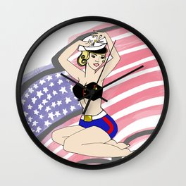 MARINE PINUP GIRL with flag Wall Clock