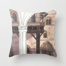 VIEW FROM PALAZZO DELLA MERCANZIA, Bologna Travel Sketch by Frank-Joseph Throw Pillow