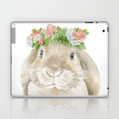 Lop Rabbit Floral Wreath Watercolor Painting Laptop & iPad Skin