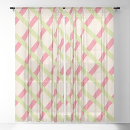 Basketweave Coral and Lime Sheer Curtain