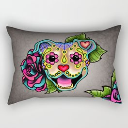 Smiling Pit Bull in Fawn - Day of the Dead Pitbull Sugar Skull Rectangular Pillow