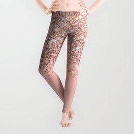 Girly Rose Gold Confetti Pink Gradient Ombre Leggings