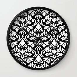 Flourish Damask Big Ptn White on Black Wall Clock