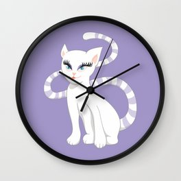 Pretty white cartoon kitty cat Wall Clock