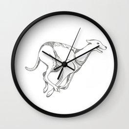 Greyhound Running Doodle Art Wall Clock
