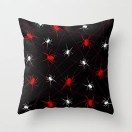 red and white spider Throw Pillow