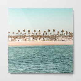 Vintage Newport Beach Print {1 of 4} | Photography Ocean Palm Trees Teal Tropical Summer Sky Metal Print
