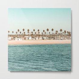 Vintage Newport Beach Print {1 of 4}   Photography Ocean Palm Trees Teal Tropical Summer Sky Metal Print