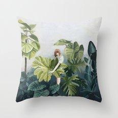 Green botanical Throw Pillow