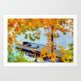 Boat Under Falling Leaves Art Print