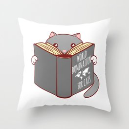 Kitten Cat's Rule World Domination For Cats Ruler Collection Feline Claw Claws T-shirt Design Throw Pillow