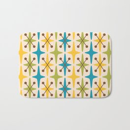 Mid Century Modern Abstract Star Pattern 441 Yellow Brown Turquoise Chartreuse Bath Mat