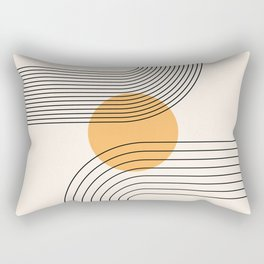 Geometric Lines in Black and Beige 24 (Rainbow and Sun Abstraction) Rectangular Pillow