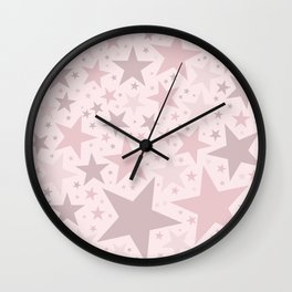 Popping Pink Pastel Stars Wall Clock