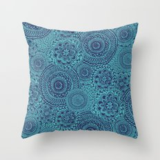 Tossed Blue mandalas Throw Pillow