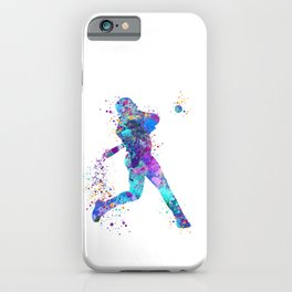 Blue Purple Baseball Boy Player iPhone Case