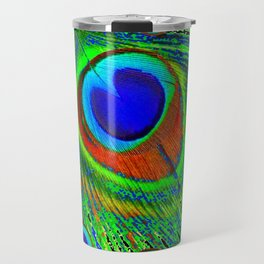 MODERN BLUE GREEN PEACOCK FEATHER ART Travel Mug