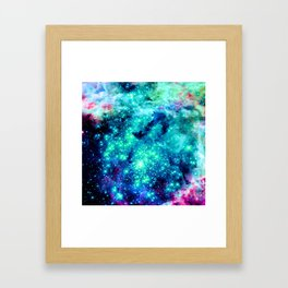 Colorful Teal Galaxy Sparkle Stars Framed Art Print