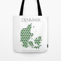 denmark Tote Bags featuring DENMARK by Artwork by Eberhardt