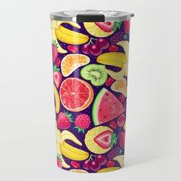 Fruit Cocktail on Blue Travel Mug