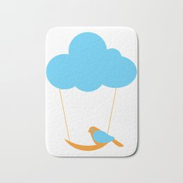 Cute bird and cloud Bath Mat