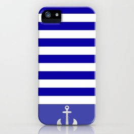 Blue And White Stripes Anchor iPhone Case