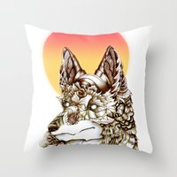 kitsune Throw Pillows featuring Kitsune by South Spire Seven