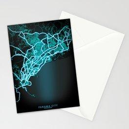 Panama City, Panama, Blue, White, Neon, Glow, City, Map Stationery Cards