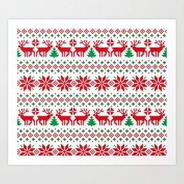 Christmas deers snowflake pixel pattern Art Print