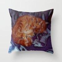 sleeping beauty Throw Pillows featuring Sleeping Beauty by Lucia