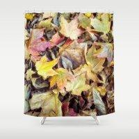 blanket Shower Curtains featuring autumn blanket by Bonnie Jakobsen-Martin