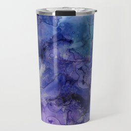 Abstract Watercolor Coastal, Indigo, Blue, Purple Travel Mug